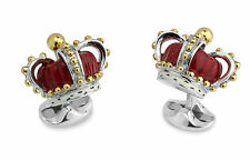 Deakin and Francis Sterling Silver & Enameled Crown Cufflinks