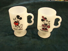 Disney MICKEY AND MINNIE MOUSE  Collectible MILK GLASS Mug