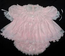ADULT SISSY FRENCH BABY CHIFFON PINK DRESS ~ BABY PLASTIC LINING