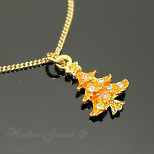 PRETTY COLOUR CRYSTAL CHRISTMAS TREE PENDANT 18K GOLD PLATE CHAIN NECKLACE