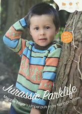 KNITTING PATTERN Childrens Dinosaur Motif Jumper Fair Isle Sweater Debbie Bliss