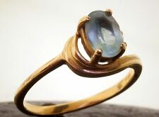 Aquamarine Ring 14k Yellow Gold Oval Stone 3 Diamond Accents Vintage 70's