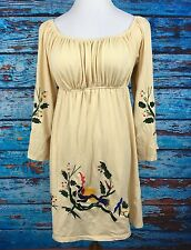 Va Va By Joy Han Sz M Beige Dress Embroidered Birds Boho Hippie Chic WG