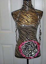 Zebra Rhinestone Pink Flower Purse w/ Long Strap Prom Dance Halloween