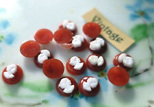 6mm Vintage tiny Cameo Cabochons Raised Victorian Doll Jewelry Red Woman #843BA