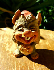 Vtg Henning Hand Carved Wooden Troll w Red Hat 3.5in T Made in Norway