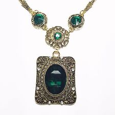 Vintage Green Topaz Oval Emerald Chain Pendant Necklace 14K Yellow Gold