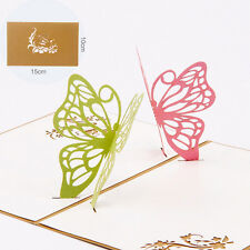 3D Pop Up Two Butterfly Greeting Cards Christmas Valentine Birthday Invitation