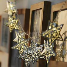 Metal Star Fairy String Lights 10 Warm White LED Indoor Bedroom Christmas