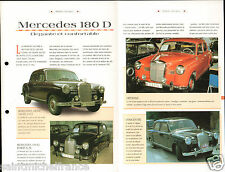 Mercedes 180D /190D /220S Berline 4 Cyl. Germany Allemagne Car Auto FICHE FRANCE
