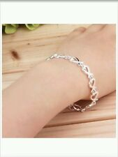 Heart link Bracelet / anklet /chain- 925 Stamped Silver lady mum men gift +bag