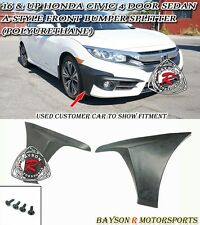 16-17 Civic 4dr A-Style Front Bumper Lip Splitters (Urethane)