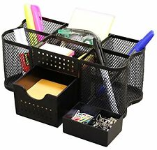 Desk Organizer Black Mesh Metal Desktop Office Pen Pencil Holder Storage Tray