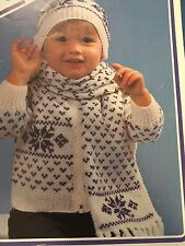 "Knitting Pattern  Snowflake Baby Jacket Hat And Scarf Set 20-26"" Chest Vintage"