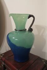 VINTAGE LARGE MURANO  ART  GLASS PITCHER GREEN/BLUE 11'' H