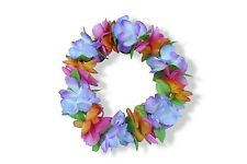 Hawaiian Lei Party Luau Haku Head Band Elastic Royal Orange Blue Flower Plumeria