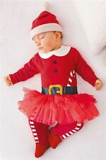 BNWT New NEXT Miss Santa Claus Tutu Sleepsuit with Hat set Baby First Christmas