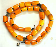 Stunning Large Butterscotch Amber Beads and Sterling Silver Necklace 125 Grams