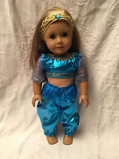 "Fits American 18"" Girl Doll Clothes Jasmine Genie Bollywood Costume w/ Tiara"