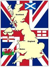 UNITED KINGDOM MAP & FLAG, UK - SOUVENIR FRIDGE MAGNET - BRAND NEW