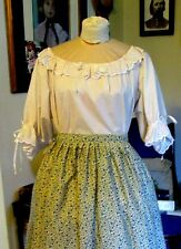 CIVIL WAR DRESS BLOUSE~COLONIAL LADY'S IVORY 100% COTTON EYELET TRIMMED REG SIZE