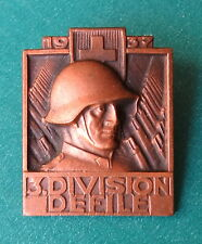 1937 Swiss 3rd Division Defile Badge - Switzerland Copper Sternegg Schaffhausen