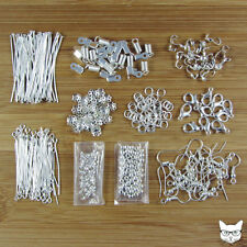 840 Piece Kit of Silver Plated Findings Pack for Jewellery Making - Large Lot
