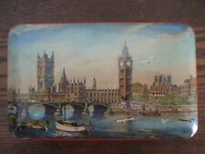 Vintage BLUE BIRD TOFFEE TIN London Bridge Big Ben scene
