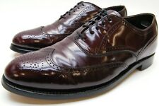 MENS VTG HANOVER USA MADE BURGUNDY LEATHER WINGTIP OXFORD DRESS SHOES 8.5~1/2 C