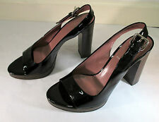 Miu Miu Black Patent Leather Slingback with Wooden Platform and Heel - Size 38