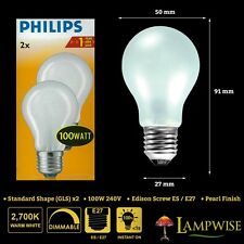 PHILIPS 100W 240V EDISON SCREW ES E27 GLS DIMMABLE PEARL LIGHT BULB TWIN PACK