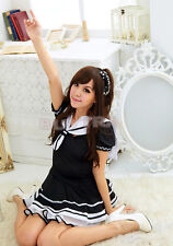Fashion Japanese Japan School Girl Sailor Uniform Dress Maid Cosplay Costume EF
