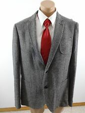 ALTAMODA BY MW MENS BLACK HERRINGBONE TWEED WOOL SPORTS COAT SIZE 46R $350 VALUE