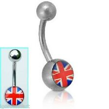 "Belly Button ""Union Jack"" Logo Ball Ends 316L Surgical Navel Curved Bars/Barbell"