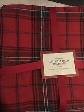 Williams Sonoma Classic Red Tartan 70x 90 Tablecloth + Napkins Set 4 Christmas