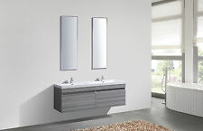 Double Ash Vanity Unit Twin Sink Cabinet Taps Mirrors Designer Bathroom basin