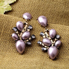 Fashion Chic Statement Pink Pearls Earrings Danglers Studs Gift Party Crystal UK