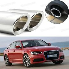 2Pcs Car Exhaust Muffler Tip Tail Pipe Trim Silver for Audi A6 2009-2014 #1036