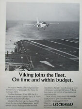 5/1974 PUB LOCKHEED S-3A VIKING US NAVY ASW AIRCRAFT CARRIER ORIGINAL AD