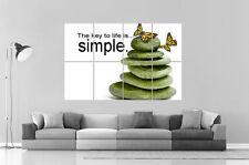 ZEN LIFE IS SEMPLICE CHIAVE DELLA VITA Poster Grande formato A0 Larghezza Stampa