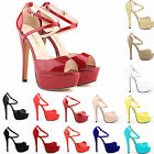 WOMENS PEEP TOE STRAPPY PLATFORM STILETTO LADIES HIGH HEEL SANDAL SHOES SIZE 3-9