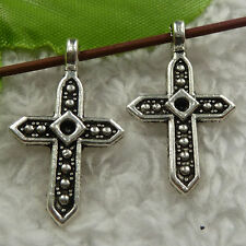 free ship 240 pieces tibet silver cross charms 28x16mm #4170