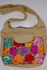 Mexican cross body bag biege multi colors  embroidery flowers super large