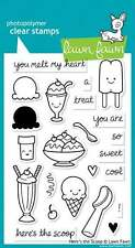 NEW LAWN FAWN HERE'S THE SCOOP CLEAR ACRYLIC STAMP SET
