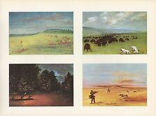 "1972 Vintage HUNTING ""FOUR SCENES, ANTELOPE BISON DEER, 1830's"" Color Lithograph"