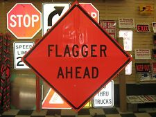 "Flagger Ahead Fluorescent Vinyl With Ribs Road Sign 48"" X 48"""