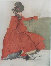 """""""Jacques VILLON: LA FEMME EN ROUGE (SUR UN BANC)""""Litho originale THE STUDIO 1901"""