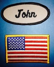 2 Lot USA Flag John Name Tag Employee Uniform Work Shirt Cosplay Patches 056