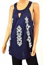 INC Concepts Sleeveless Womens Blue Embroidered Keyhole Halter Tunic Top Plus 1X