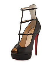 100% AUTH NEW WOMEN LOUBOUTIN SISTOERLESS 150 SHINY BLACK CALF PUMP/HEEL US 12